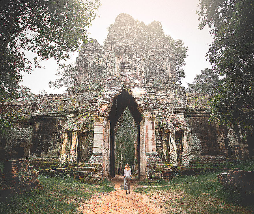Siem Reap, Cambodia. We Walked For About An Hour Just To Discover This Archway In The Middle Of The Jungles