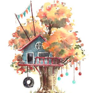 I Use Watercolours To Pain Whimsical Tree Houses