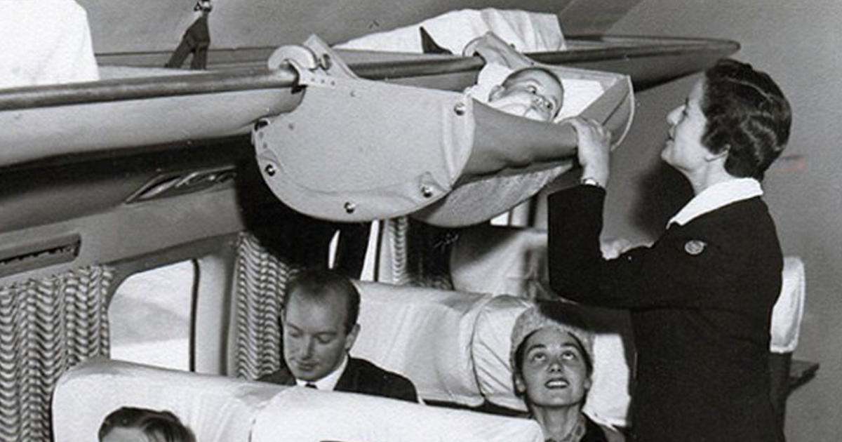1950s photos reveal how babies traveled on airplanes in the past   bored panda 1950s photos reveal how babies traveled on airplanes in the past      rh   boredpanda