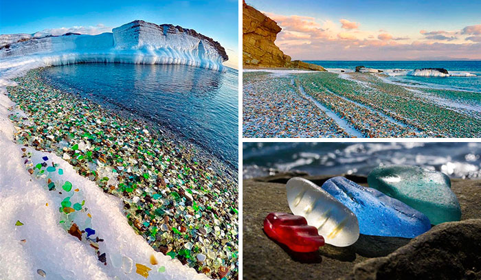 "Russians Throw Away Empty Vodka And Beer Bottles, Ocean Turns Them Into Colorful Glass ""Pebbles"""