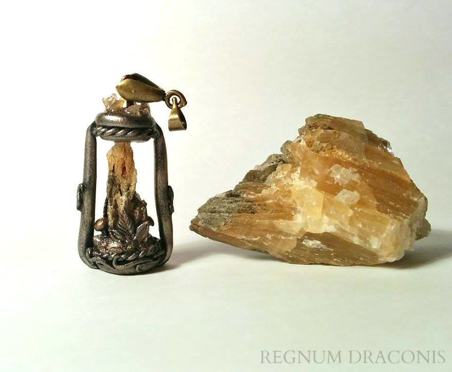 Vintage Lantern With Raw Calcite Core