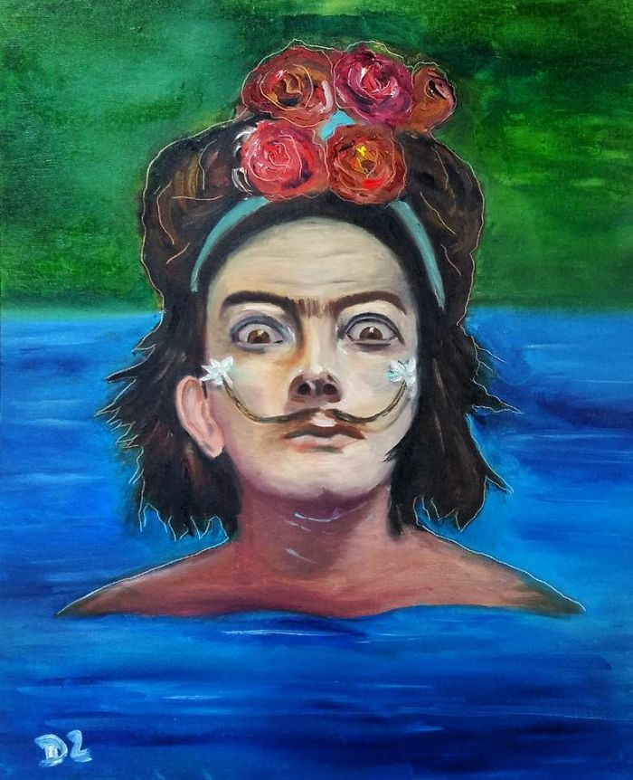 I Merged Salvador Dali And Frida Kahlo In My Painting