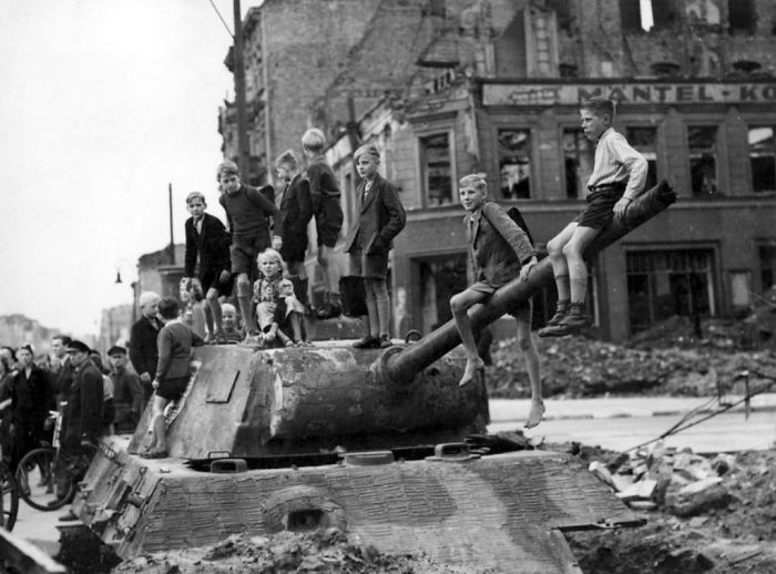 German Kids Playing On A Panther Tank Turret Following The Fall Of Berlin, 1945