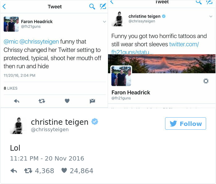 2019 year lifestyle- Teigen chrissy twitter comment