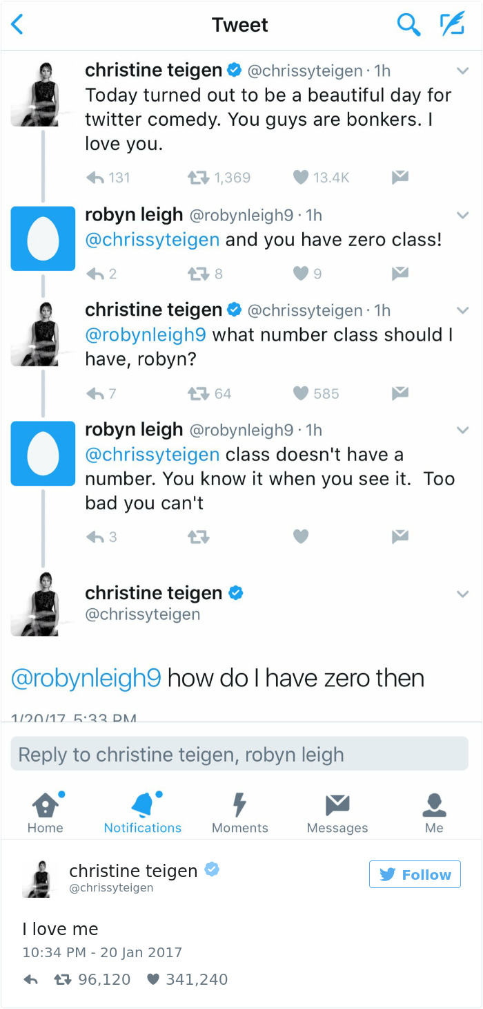 To acquire Teigen chrissy twitter comment pictures trends