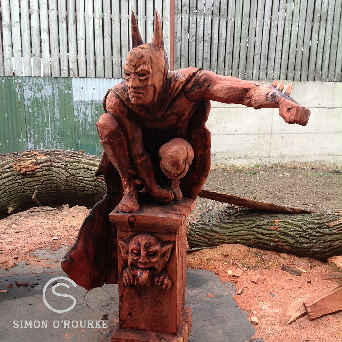 I create detailed wooden sculptures carving them with a