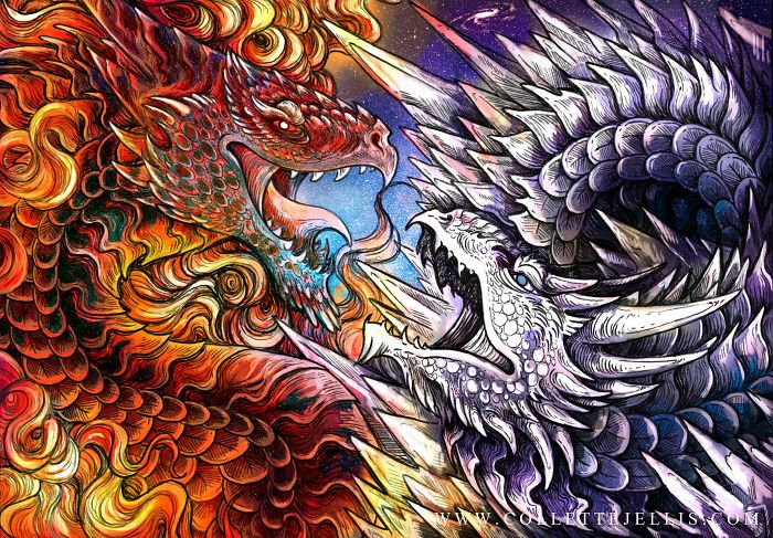 Dragons & Mythical Beasts Created In Ink And Watercolour By Artist Collette J Ellis