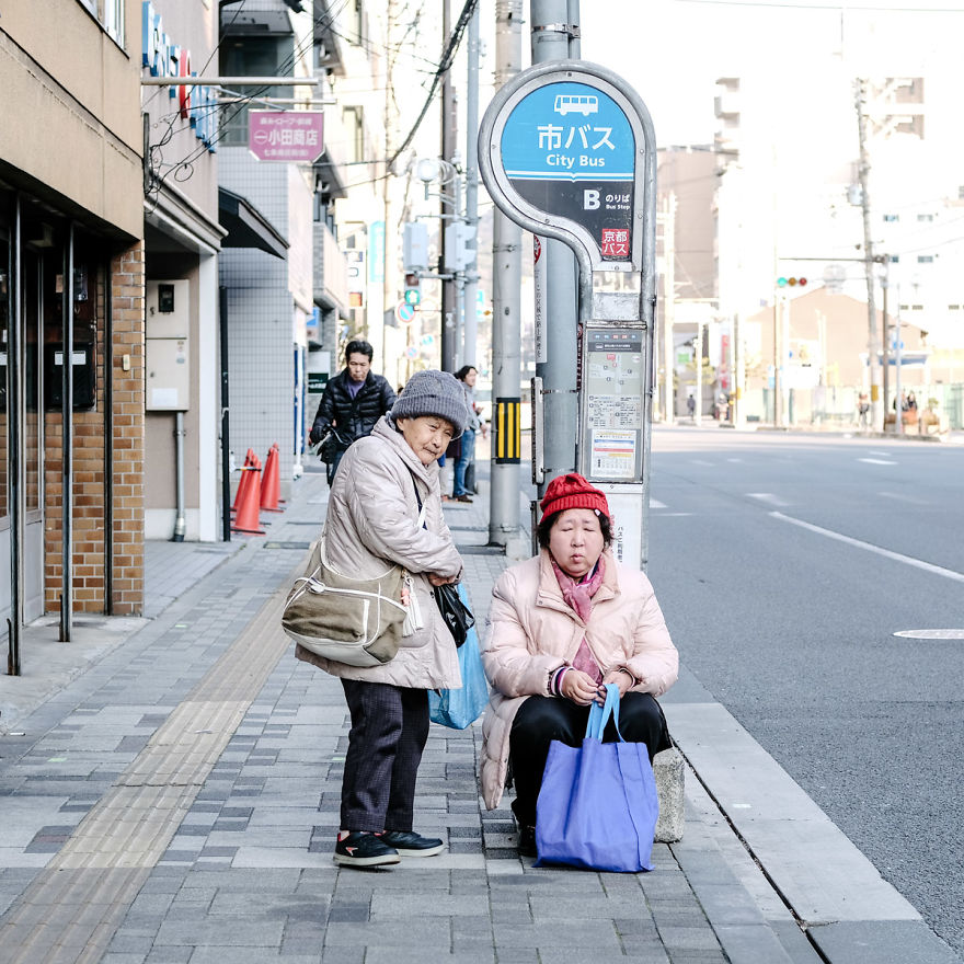 Waiting For The Bus In Kyoto