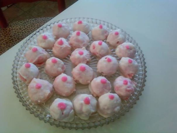 Strawberry Cake Balls Looking Oddly Perky. :/