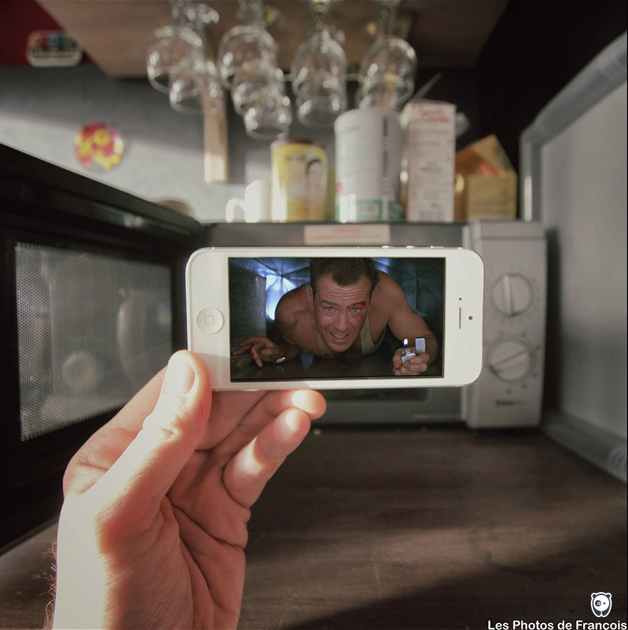 I Insert Movie Scenes Into Real Life Situations Using My Iphone