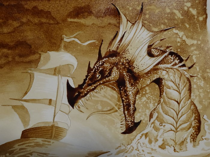 I Made Some Epic Dragons Using Only Coffee And Paint Brushes