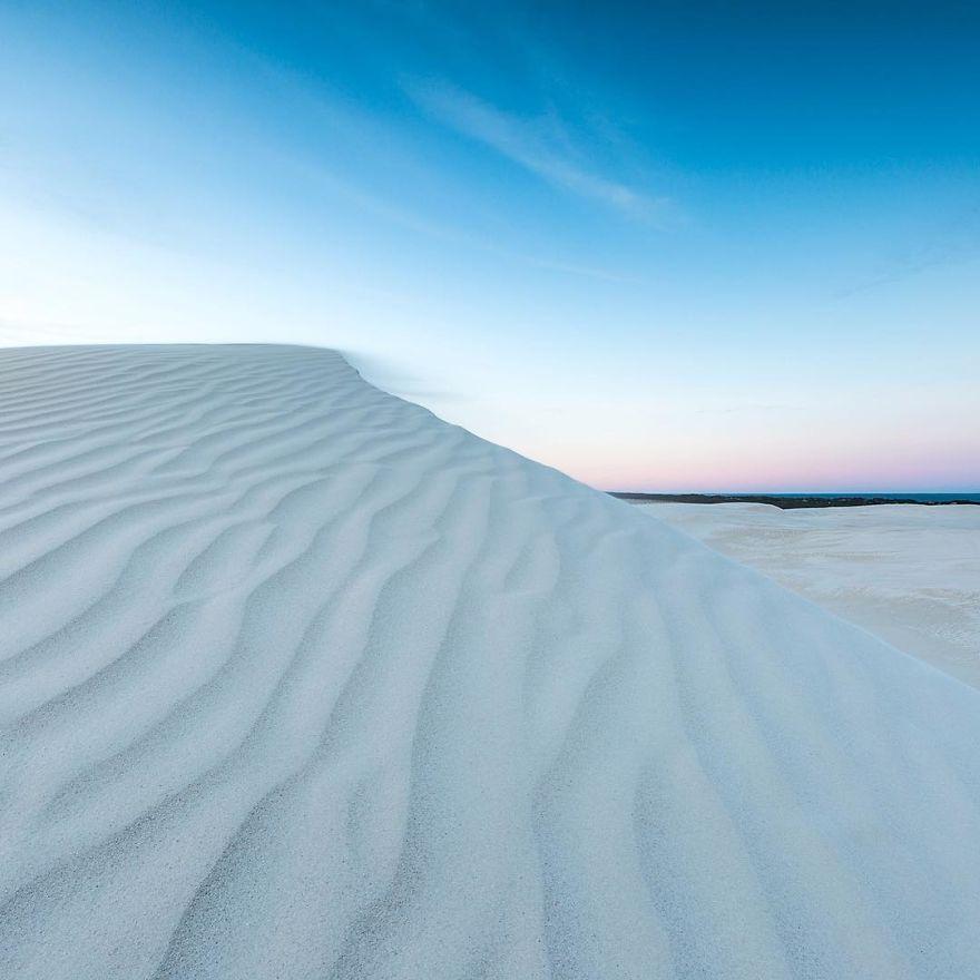 Epic White Sand Dunes, WA Coast Close To The Pinnacles