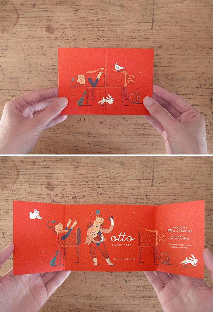Creative Birth Cards That Reveal Big News When You Open Them