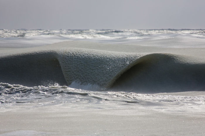 Freezing Ocean Waves Turned Into Slurpee During The Coldest Winter We've Had In 81 Years