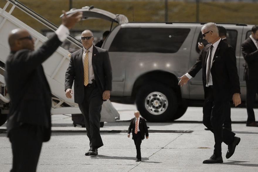 Tiny Trump Next To The Secret Service