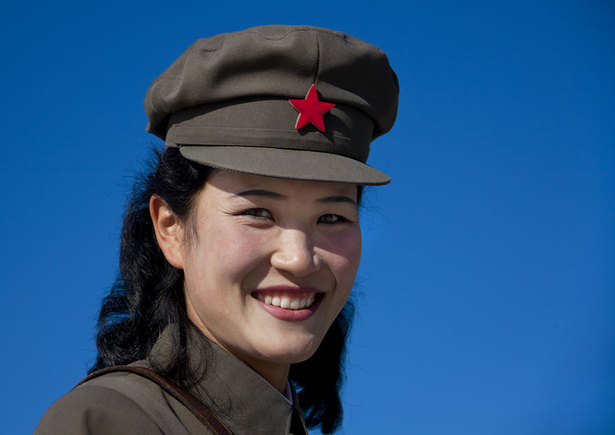 Female Soldier Smiling Wearing Cap With Red Star, Samjiyon Ryanggang, North Korea