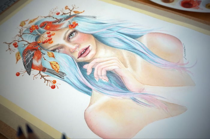 """My Watercolor And Colored Pencils Time-Lapse, """"Rowan"""""""