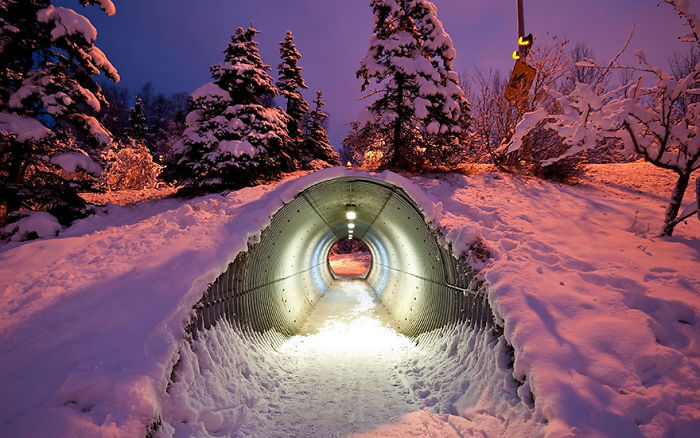 Túnel para animales bajo la carretera, Finlandia
