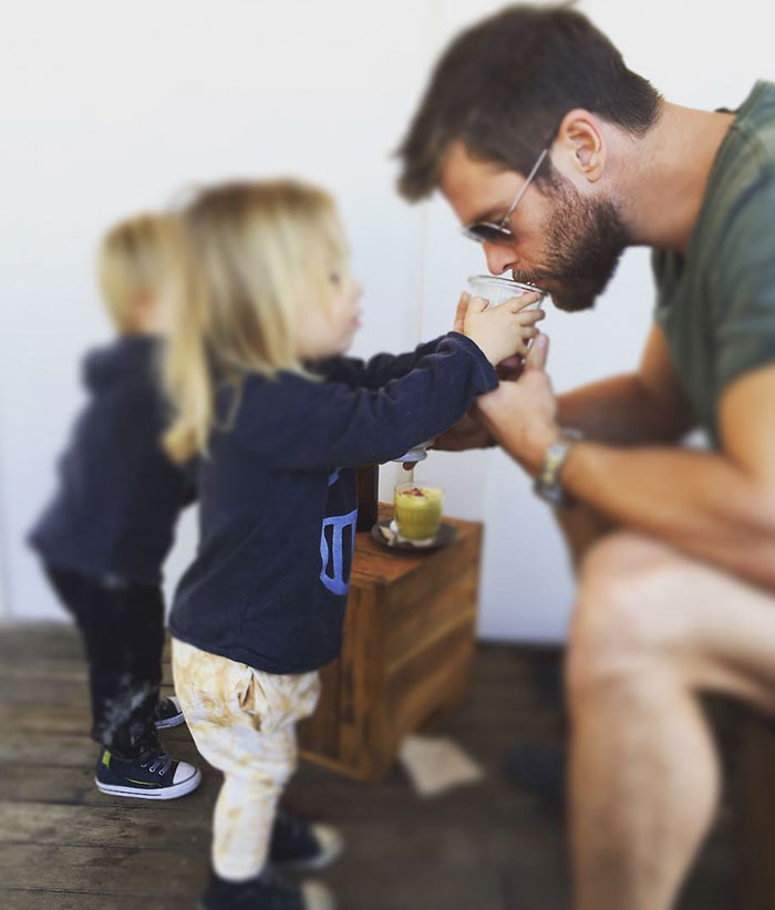 """Tristan Making Sure Papa Gets His Morning Coffee"""