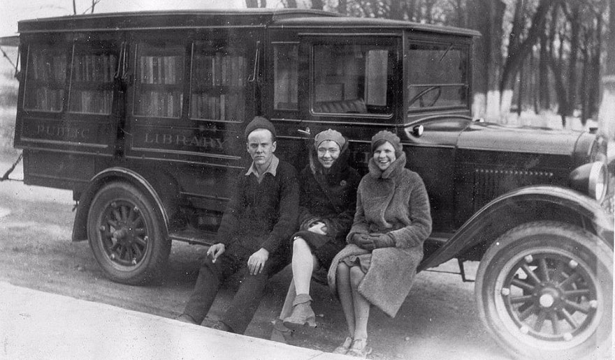 Three Of The Bookmobile Staff, C.1930
