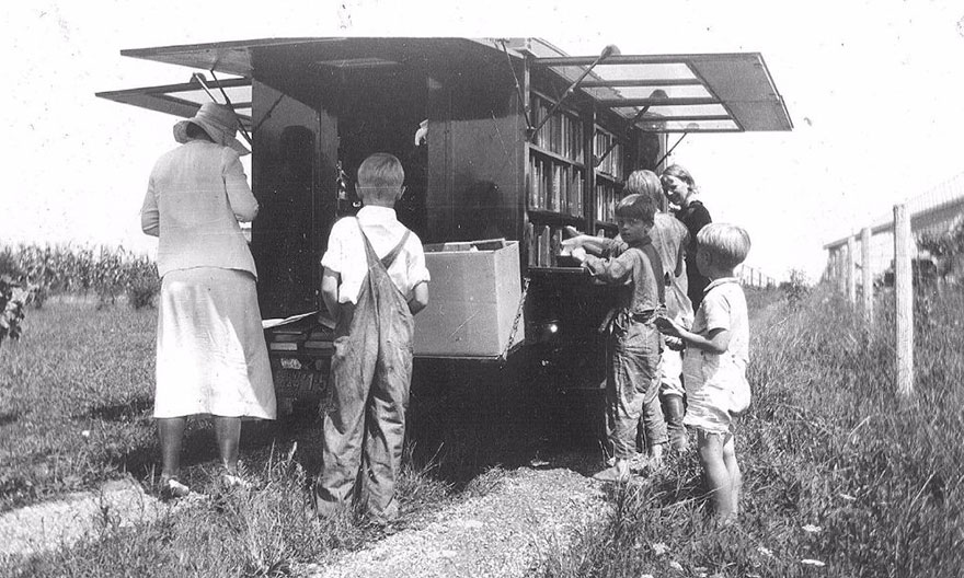 The Library's Bookmobile On Compton Road, C.1933
