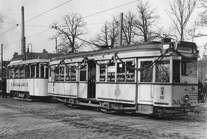 A Tram In Berlin With 2400 Books In Berlin, 1952