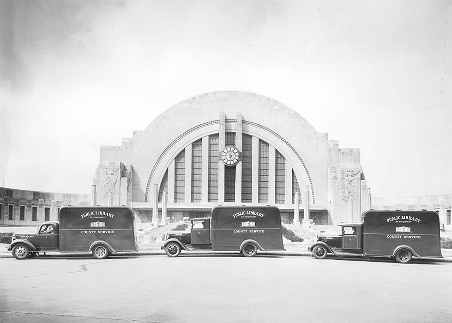 Library Bookmobiles In Front Of Union Terminal