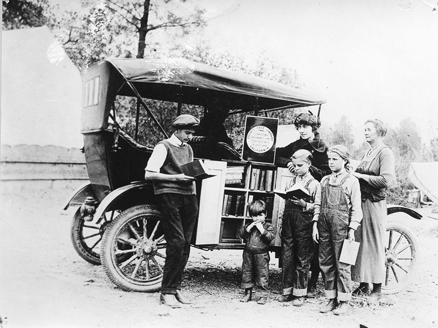 Children Gathering At The Bookmobile, C. 1912