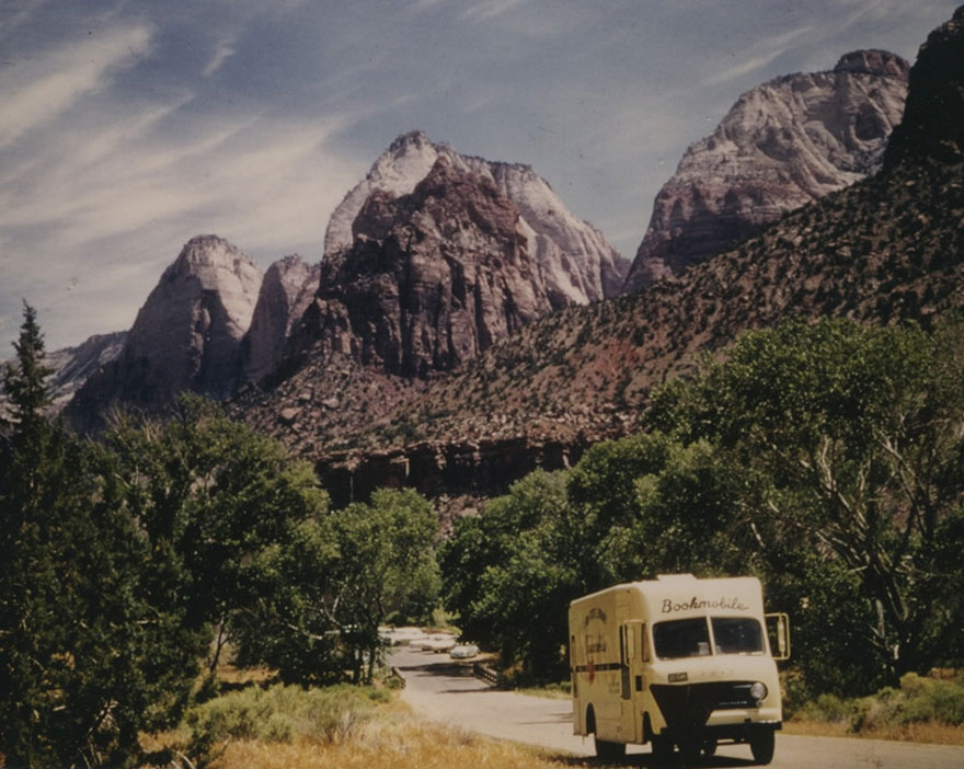 Utah State Library Bookmobile On The Road Circa 1970