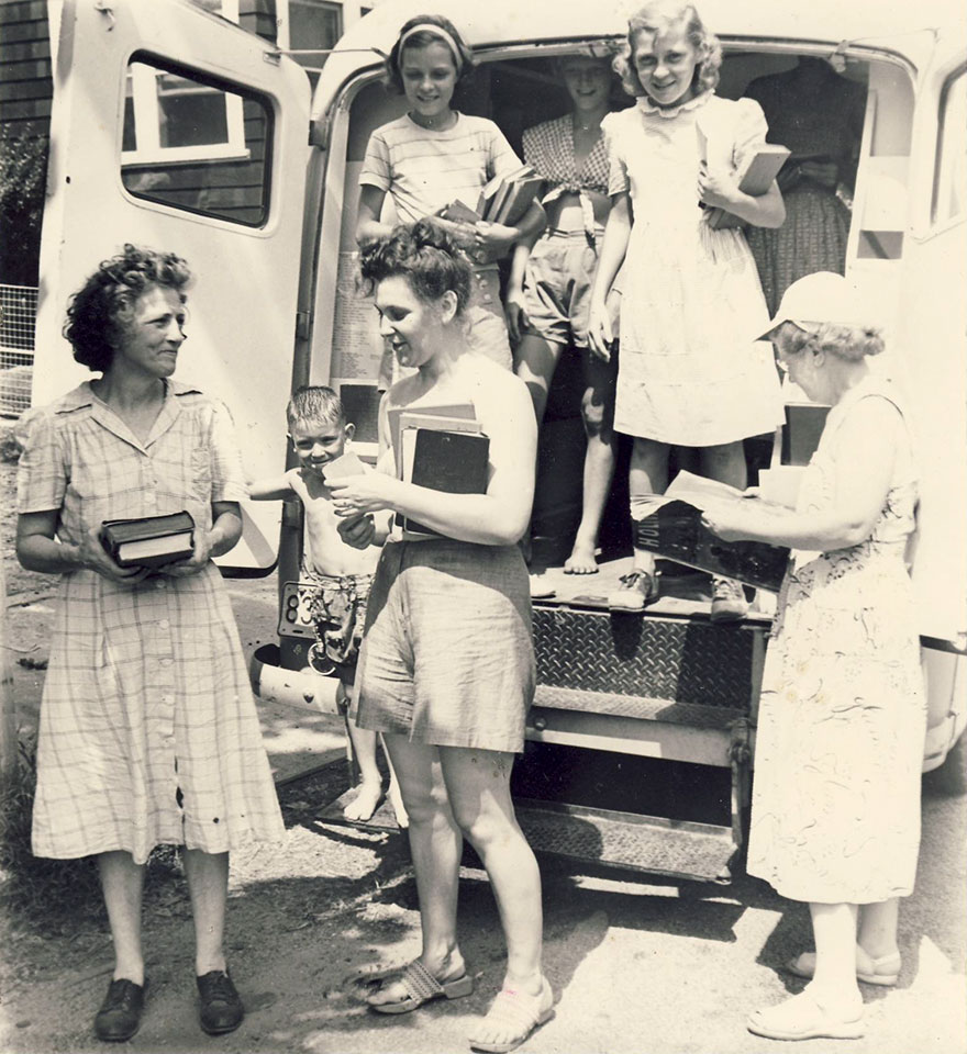 Patrons Visiting The Bookmobile