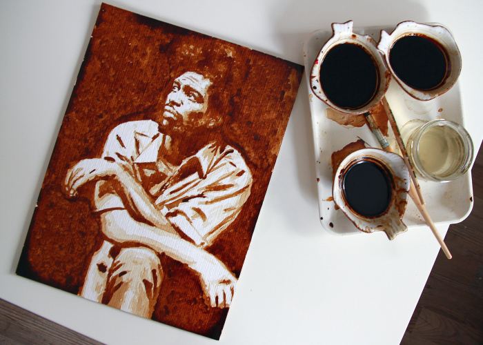 I Paint My Favorite Artists Using Coffee