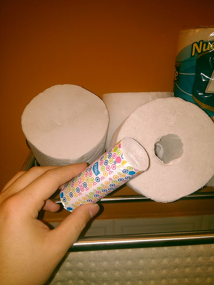 This Toilet Paper Has A Smaller Roll Inside That You Can Take On The Go