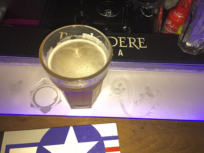 This Bar Top Has A Refrigerated Well In It To Keep Your Drink Cold