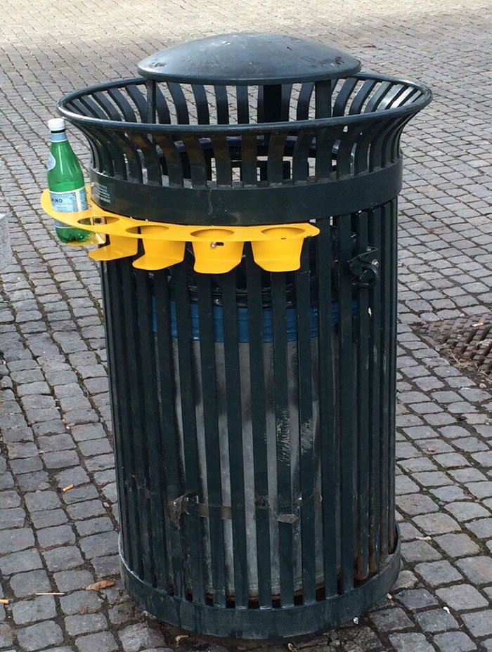 This Thrash Can Has A Bottle Rack So People Don't Have To Dig Through The Garbage To Find Some Bottles And Cans