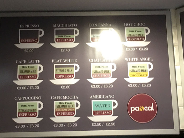 This Coffee Shop Shows The Differences Between Coffee Drink Types