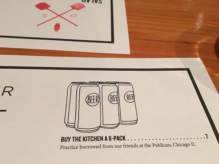 At This Restaurant You Can Buy A Six Pack For The Kitchen Crew
