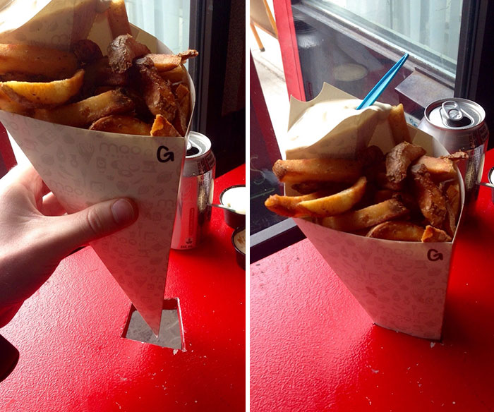 This Restaurant Sells Fries In Paper Cones - And The Tables Have Diamond Shaped Holes That Hold The Cones