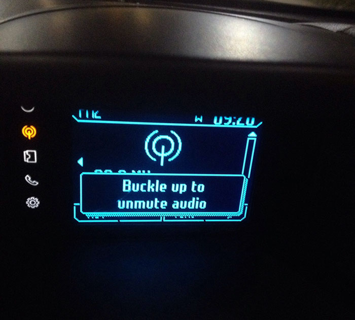 This Car Won't Let Me Listen To Music Unless I Put My Seatbelt On