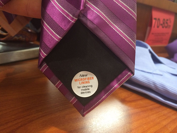 This Tie Is Made With A Microfiber Lining So You Can Clean Your Phone Screen