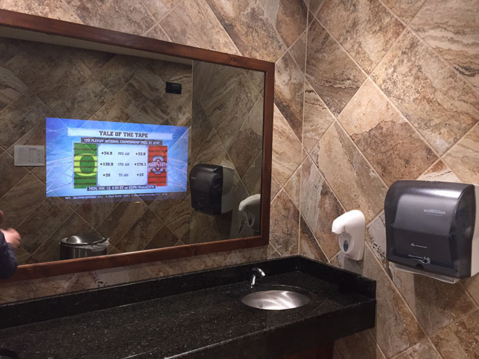 This Bathroom Mirror Has A Tv In It So You Don T Miss Anything