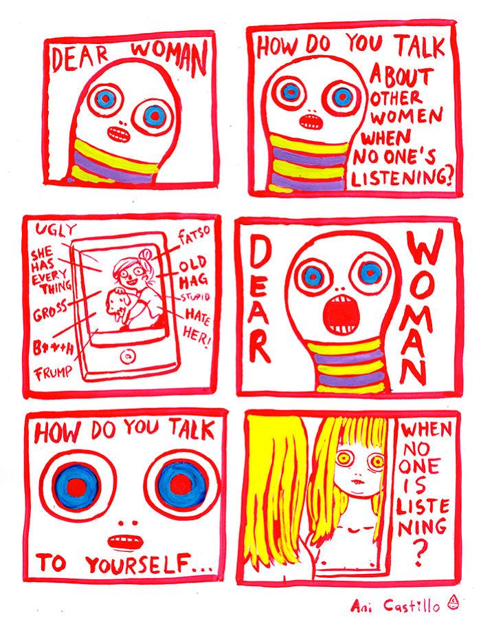 Dear Woman Is A Poem In Cartoon Form, By Ani Castillo.