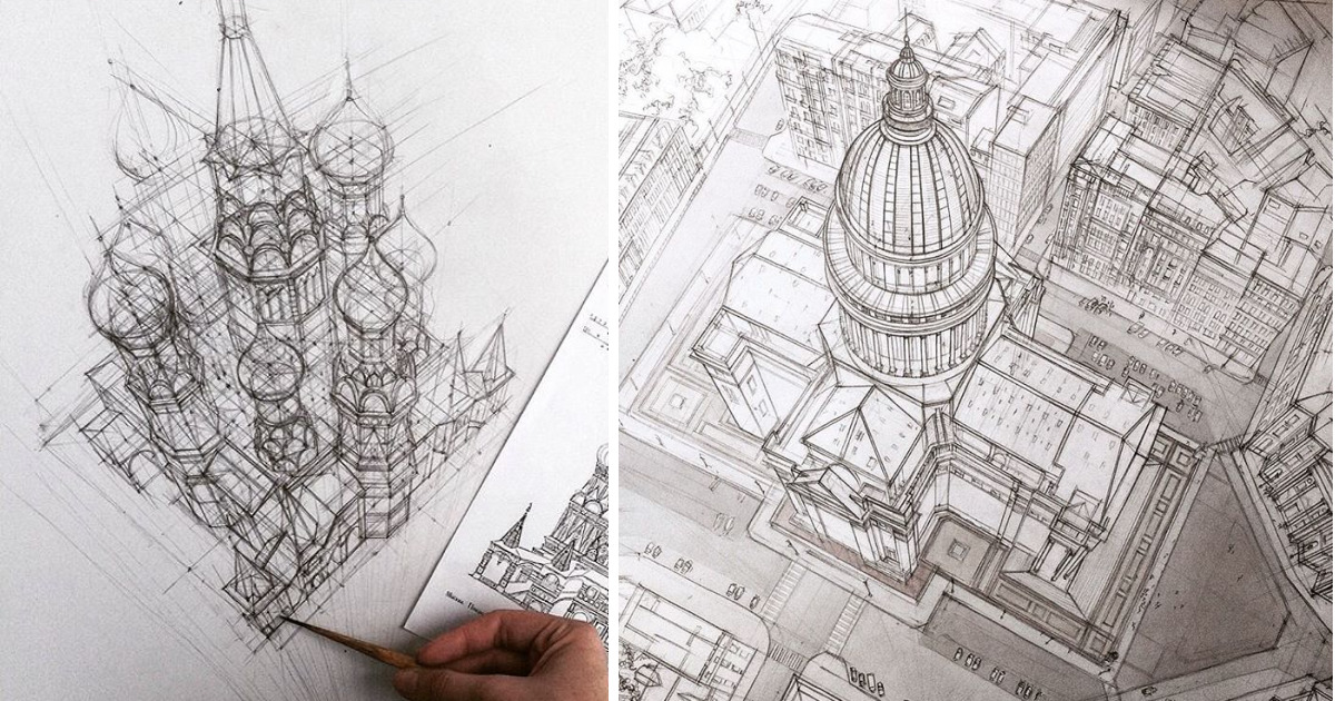 These Freehand Architectural Sketches Show A University Student's Incredible Progress