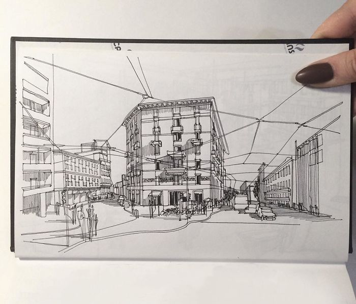 Sketch Of Typical Italian Street