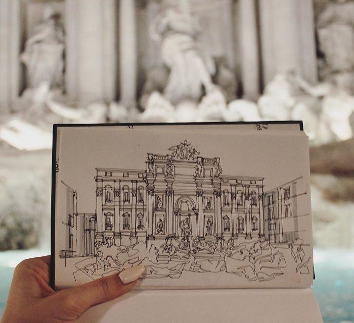 Sketch Of Fontana Di Trevi In Roma, Italy