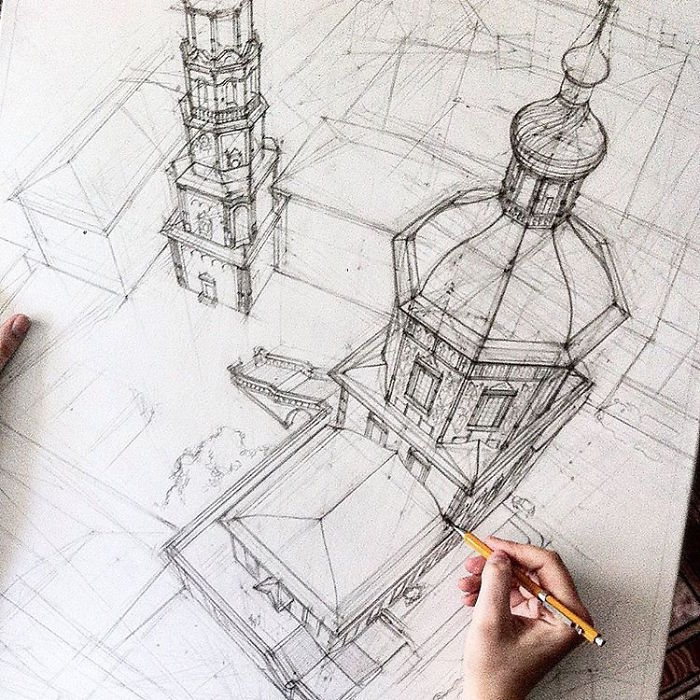 These freehand architectural sketches show a university Online architecture drawing