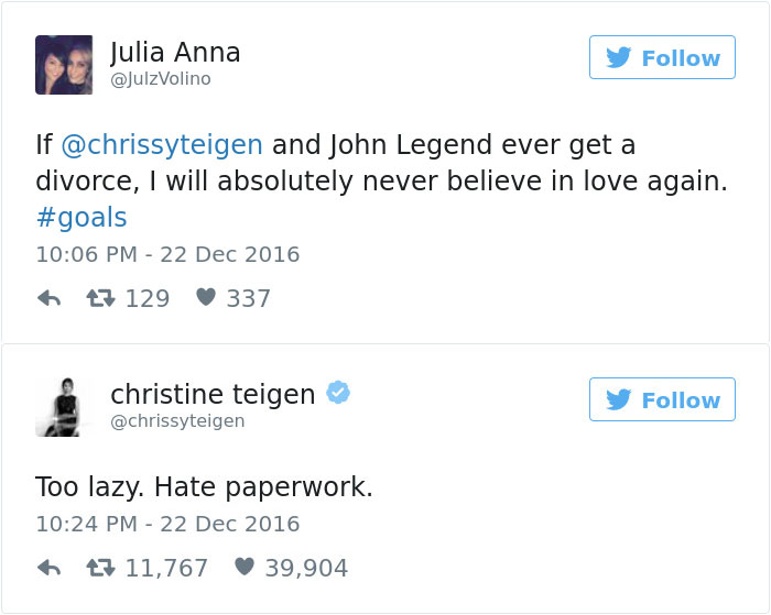 Teigen chrissy twitter comment recommendations to wear in on every day in 2019