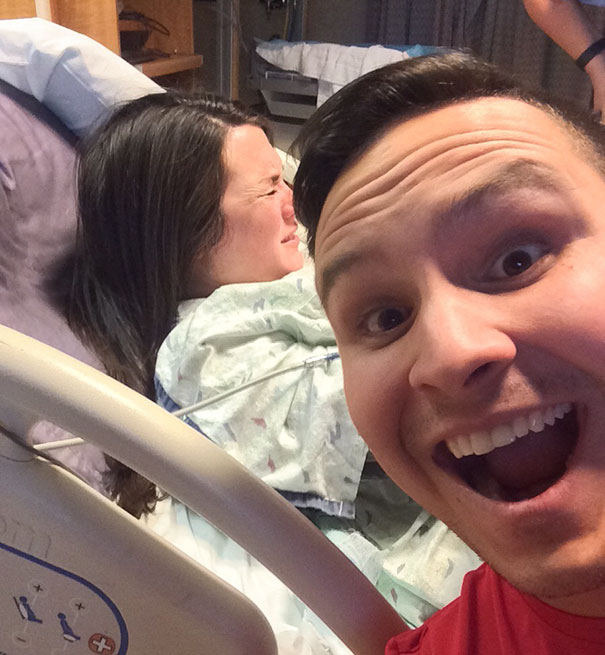 My Wife Wanted To Make Sure That Someone Took A Picture Of The Expression On Our Faces When Our Daughter Was Born Today. So I Took One