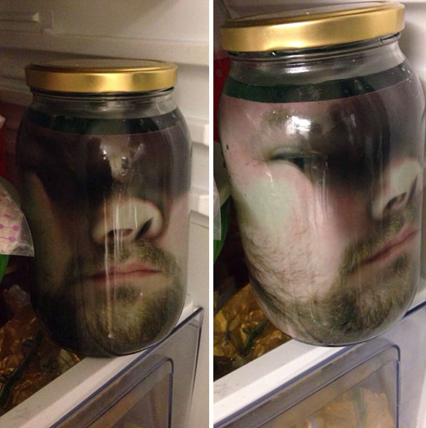 How To Scare Your Wife On Halloween: Print Your Face On Paper, Put The Paper In A Jar, Fill Jar With Green Water