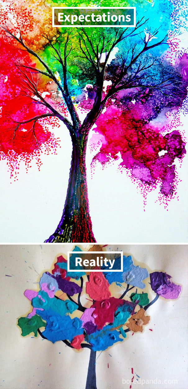 Melted Crayon Tree Art