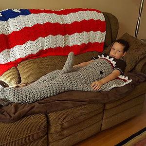 Grandma Crocheted A Shark Blanket